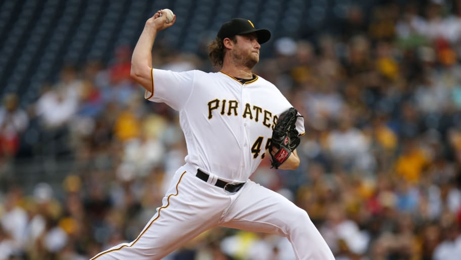PITTSBURGH, PA - JUNE 10:  Gerrit Cole #45 of the Pittsburgh Pirates pitches in the first inning during the game against the St. Louis Cardinals at PNC Park on June 10, 2016 in Pittsburgh, Pennsylvania.  (Photo by Justin K. Aller/Getty Images)