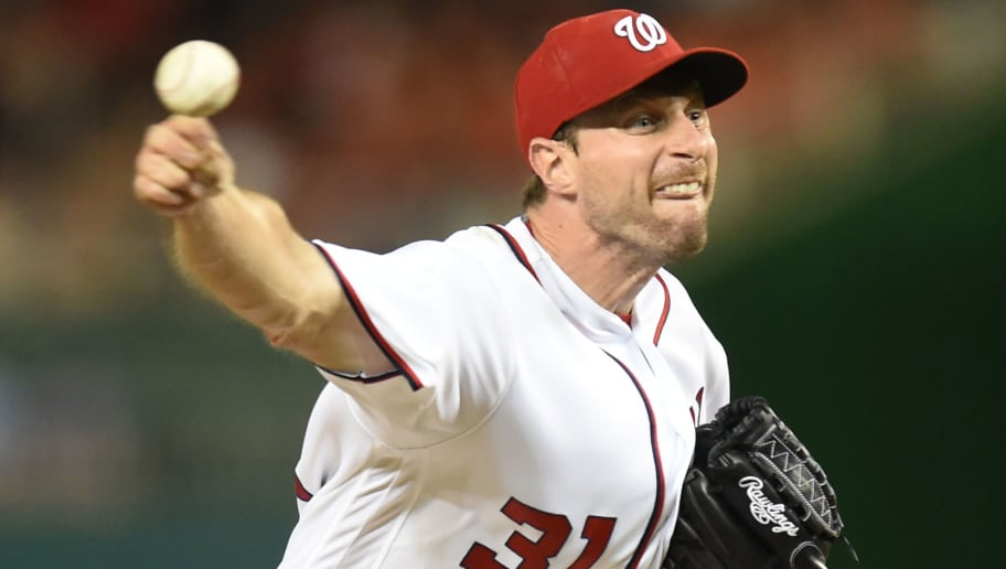 WASHINGTON, DC - JUNE 13:  Max Scherzer #31 of the Washington Nationals pitches in the seventh inning during a baseball game against the Chicago Cubs at Nationals Park on June 13, 2016 in Washington, DC.  (Photo by Mitchell Layton/Getty Images)