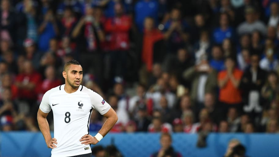 France's forward Dimitri Payet looks on during the Euro 2016 group A football match between Switzerland and France at the Pierre-Mauroy stadium in Lille on June 19, 2016. / AFP / FRANCK FIFE        (Photo credit should read FRANCK FIFE/AFP/Getty Images)