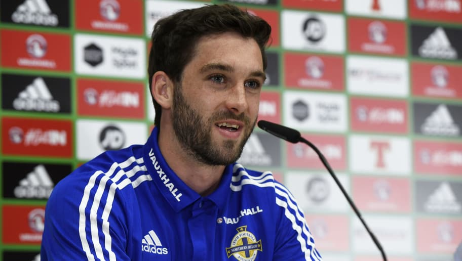 Northern Ireland's forward Will Grigg holds a  press conference at the team's training ground in Saint-Georges-de-Reneins, central-eastern France, on June 8, 2016, two days ahead of the Euro 2016 football tournament.   / AFP / PHILIPPE DESMAZES        (Photo credit should read PHILIPPE DESMAZES/AFP/Getty Images)