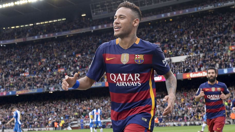 Barcelona's Brazilian forward Neymar (L) celebrates after scoring during the Spanish league football match FC Barcelona vs RCD Espanyol at the Camp Nou stadium in Barcelona on May 8, 2016.   / AFP / JOSEP LAGO        (Photo credit should read JOSEP LAGO/AFP/Getty Images)