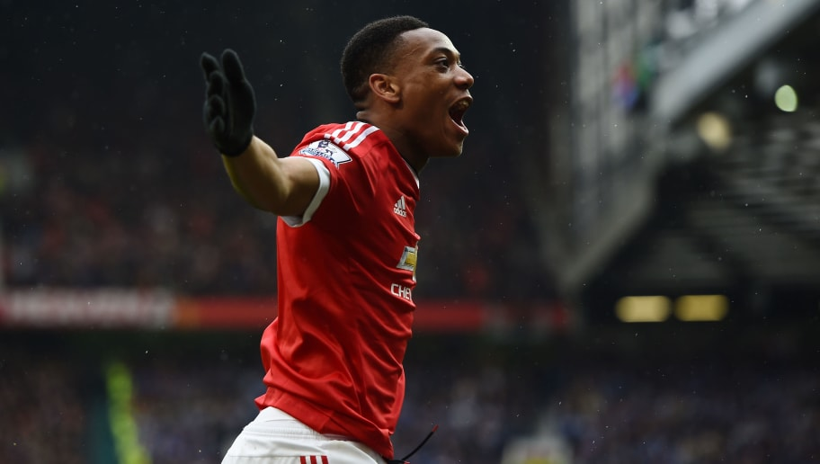 MANCHESTER, UNITED KINGDOM - MAY 01:  Anthony Martial of Manchester United celebrates scoring the opening goal during the Barclays Premier League match between Manchester United and Leicester City at Old Trafford on May 1, 2016 in Manchester, England.  (Photo by Laurence Griffiths/Getty Images)