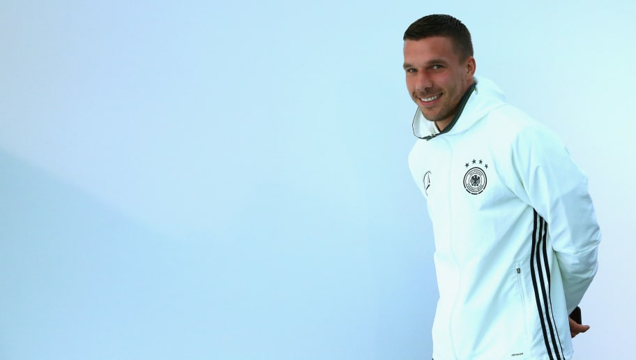 EVIAN-LES-BAINS, FRANCE - JUNE 14:  Lukas Podolski of Germany arrives for a Germany press conference at Ermitage Evian on June 14, 2016 in Evian-les-Bains, France.  (Photo by Alexander Hassenstein/Getty Images)