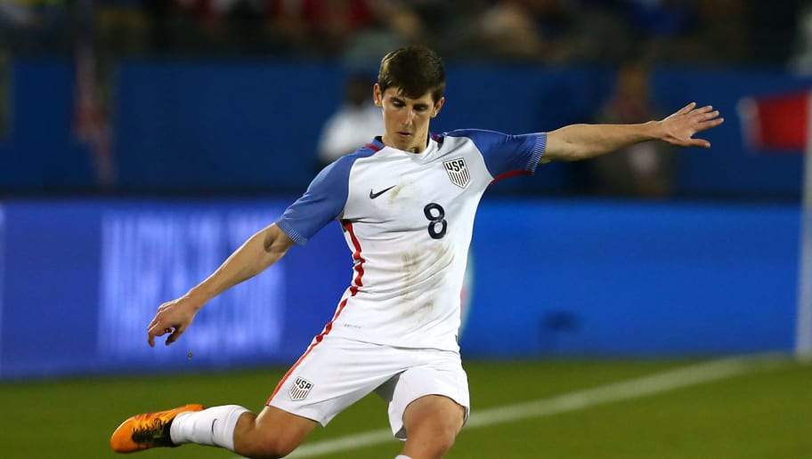 FRISCO, TEXAS - MARCH 29: Emerson Hyndman #8 of the U.S. Under-23 Men's National Team kicks during the second half of the 2016 CONCACAF Olympic Qualifying playoff against Colombia at Toyota Stadium on March 29, 2016 in Frisco, Texas. Colombia defeated the United States 2-1. (Photo by Sarah Crabill/Getty Images)
