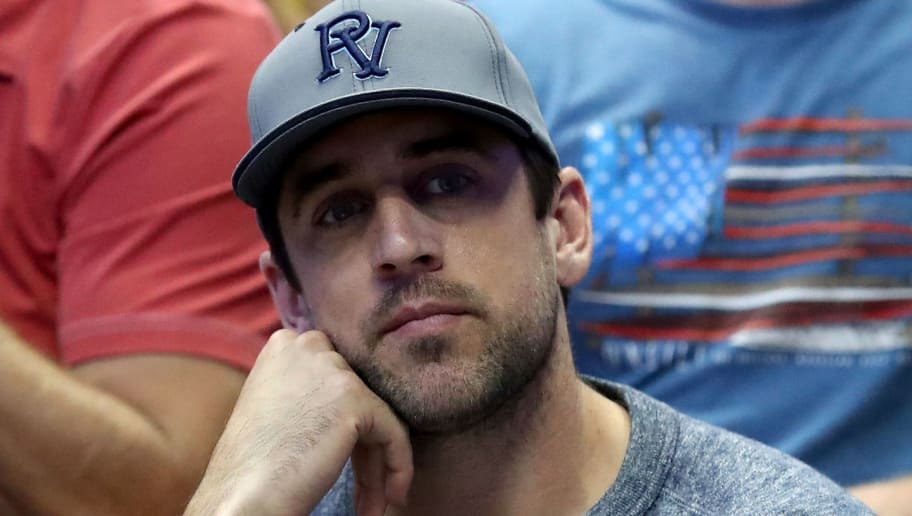 ANAHEIM, CA - MARCH 26:  Quarterback Aaron Rodgers of the Green Bay Packers watches the NCAA Men's Basketball Tournament West Regional Final at Honda Center on March 26, 2016 in Anaheim, California.  (Photo by Sean M. Haffey/Getty Images)