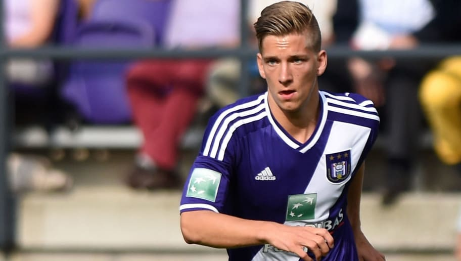 BRUSSELS, BELGIUM - JULY 27:  Dennis Praet of RSC Anderlecht in action during the Jupiler Pro League match between RSC Anderlecht and Royal Mouscron Peruwelz at Constant Vanden Stock Stadium on July 27, 2014 in Brussels, Belgium.  (Photo by Valerio Pennicino/Getty Images)