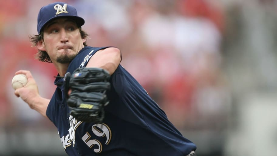 ST. LOUIS, MO - JUNE 8: Relief pitcher Derrick Turnbow #59 of the Milwaukee Brewers throws against the St. Louis Cardinals at Busch Stadium July 29, 2007 in St. Louis, Missouri.  The Cardinals beat the Brewers 9-5.  (Photo by Dilip Vishwanat/Getty Images)
