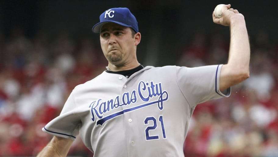 ST. LOUIS - JULY 01:  Mark Redman #21 of the Kansas City Royals delivers a pitch in the first inning against the St. Louis Cardinals on July 1, 2006 at Busch Stadium in St. Louis, Missouri.  (Photo by Elsa/Getty Images)