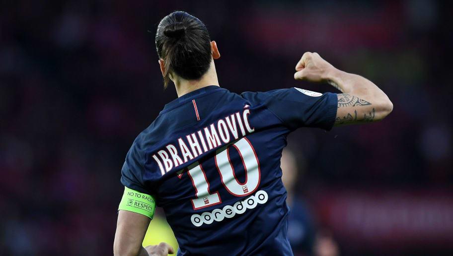 Paris Saint-Germain's Swedish forward Zlatan Ibrahimovic celebrates his goal during the French L1 football match between Paris Saint-Germain and Nantes at the Parc des Princes stadium in Paris on May 14, 2016.   / AFP / FRANCK FIFE        (Photo credit should read FRANCK FIFE/AFP/Getty Images)