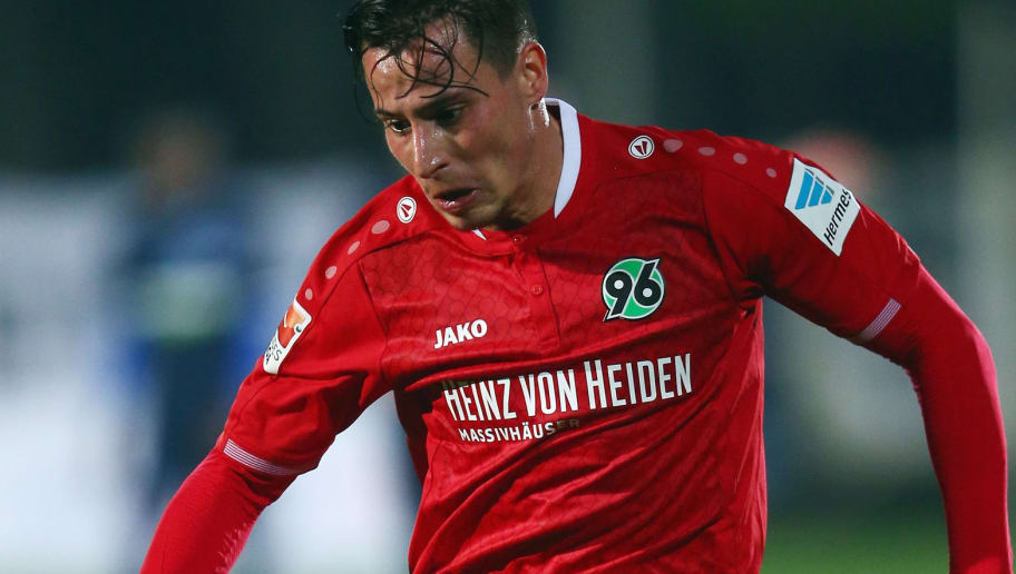 BELEK, TURKEY - JANUARY 11:  Edgar Prib of Hannover controles the ball during a friendly match between Hannover 96 and Hertha BSC Berlin at Cornelia Sports Center on January 11, 2016 in Belek, Turkey.  (Photo by Alex Grimm/Bongarts/Getty Images)