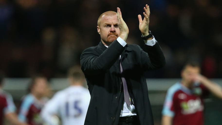 PRESTON, UNITED KINGDOM - APRIL 22:  Sean Dyche the manager of Burnley applauds his support after victory over Preston North End in the Sky Bet Championship match between Preston North End and Burnley at Deepdale on April 22, 2016 in Preston, England.  (Photo by Alex Livesey/Getty Images)