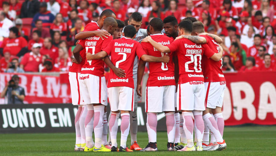 PORTO ALEGRE, BRAZIL - JUNE 26: Players of Internacional before the match between Internacional and Botafogo as part of Brasileirao Series A 2016, at Estadio Beira-Rio on June 26, 2016, in Porto Alegre, Brazil. (Photo by Lucas Uebel/Getty Images)
