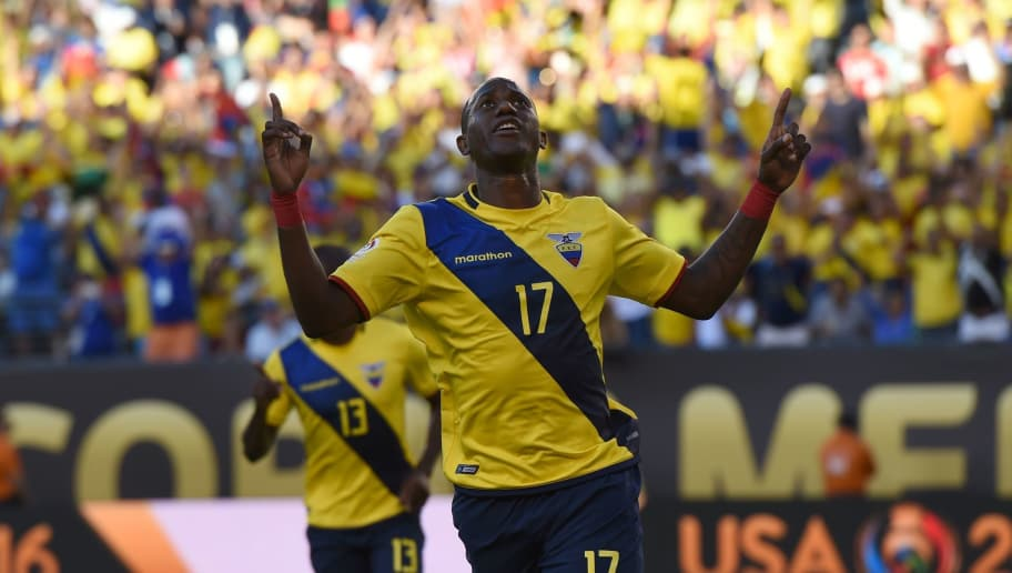 Ecuador's Jaime Ayovi celebrates after scoring against Haiti during their Copa America Centenario football tournament match in East Rutherford, New Jersey, United States, on June 12, 2016.  / AFP / Don EMMERT        (Photo credit should read DON EMMERT/AFP/Getty Images)