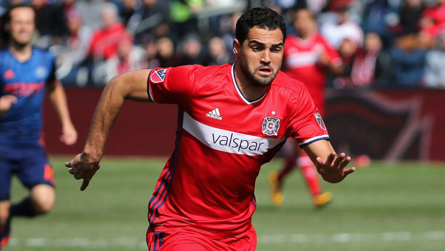 BRIDGEVIEW, IL - MARCH 06:  Gilberto #9 of the Chicago Fire adavnces the ball against the New York City FC at Toyota Park on March 6, 2016 in Bridgeview, Illinois. The New York City FC defeated the Fire 4-3.  (Photo by Jonathan Daniel/Getty Images)