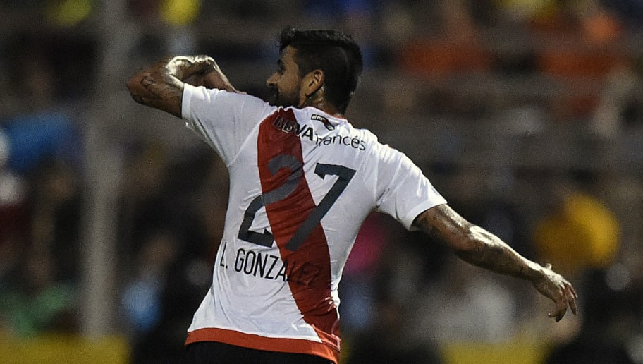 Luis Oscar Gonzalez of Argentinian River Plate celebrates after scoring against Venezuelan Trujillanos during their Copa Libertadores 2016 tournament football match at Jose Alberto Perez stadium, in Valera, Venezuela on February 25, 2016. AFP PHOTO/JUAN BARRETO / AFP / JUAN BARRETO        (Photo credit should read JUAN BARRETO/AFP/Getty Images)