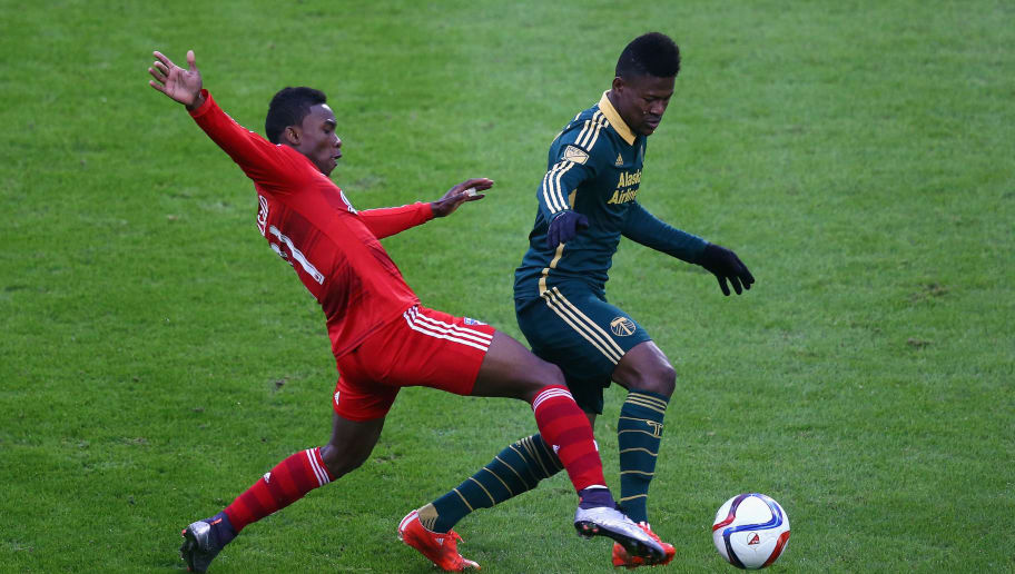 FRISCO, TX - NOVEMBER 29:  Dairon Asprilla #11 of Portland Timbers dribbles the ball past Fabian Castillo #11 of FC Dallas during the Western Conference Finals-Leg 2 of the MLS playoffs at Toyota Stadium on November 29, 2015 in Frisco, Texas.  (Photo by Ronald Martinez/Getty Images)