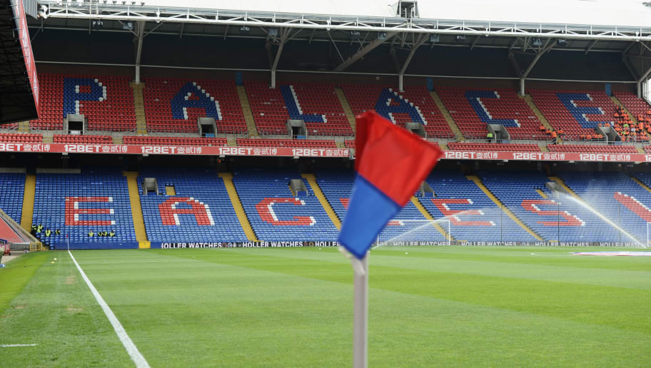 LONDON, ENGLAND - APRIL 12: Corner flag at Selhurst Park, home of Crystal Palace FC during the Barclays Premier League match between Crystal Palace and Aston Villa at Selhurst Park on April 12, 2014 in London, England.  (Photo by Tony Marshall/Getty Images)