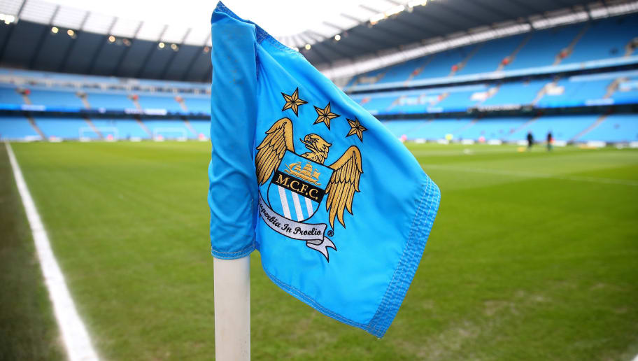 MANCHESTER, ENGLAND - FEBRUARY 07:  General View of a corner flag and the stadium prior to the Barclays Premier League match between Manchester City and Hull City at the Etihad Stadium on February 7, 2015 in Manchester, England.  (Photo by Alex Livesey/Getty Images)