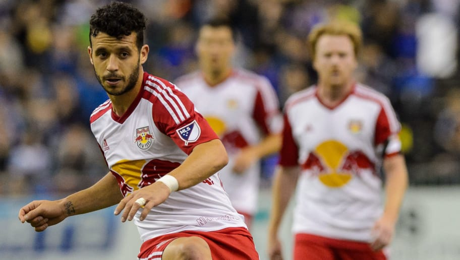 MONTREAL, QC - MARCH 12:  Felipe Martins #8 of the New York Red Bulls plays the ball during the MLS game against the Montreal Impact at the Olympic Stadium on March 12, 2016 in Montreal, Quebec, Canada.  The Montreal Impact defeated the New York Red Bulls 3-0.  (Photo by Minas Panagiotakis/Getty Images)