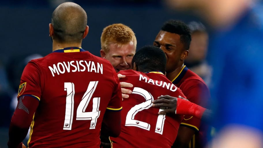 KANSAS CITY, KS - APRIL 02:  Justen Glad #15 of Real Salt Lake celebrates with teammates after scoring against Sporting Kansas City during the 1st half of the Major League Soccer match at Children's Mercy Park on April 2, 2016 in Kansas City, Kansas.  (Photo by Jamie Squire/Getty Images)