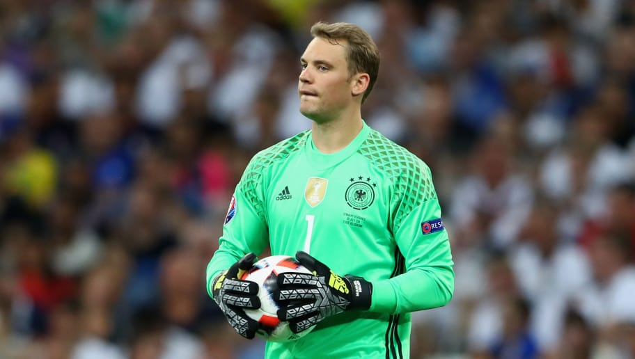 MARSEILLE, FRANCE - JULY 07:  Manuel Neuer of Germany reacts during the UEFA EURO 2016 semi final match between Germany and France at Stade Velodrome on July 7, 2016 in Marseille, France.  (Photo by Alexander Hassenstein/Getty Images)