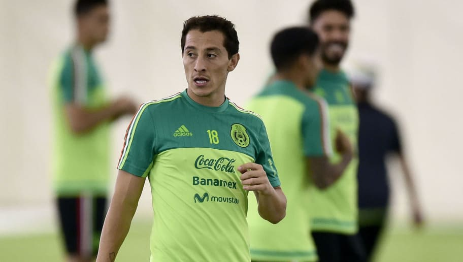 Andres Guardado of Mexico warms up during a traning session at Methodist Training Center in Houston, Texas, on June 12, 2016.  Mexico will face Venezuela on June 13 in their third match of the Copa America. / AFP / ALFREDO ESTRELLA        (Photo credit should read ALFREDO ESTRELLA/AFP/Getty Images)