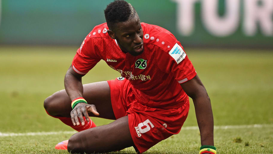 HANOVER, GERMANY - MARCH 12:  Salif Sané of Hannover looks dejected during the Bundesliga match between Hannover 96 and 1. FC Koeln at HDI-Arena on March 12, 2016 in Hanover, Germany.  (Photo by Stuart Franklin/Bongarts/Getty Images)