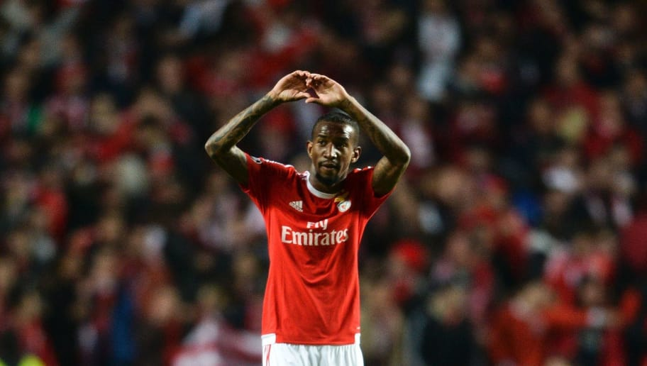 Benfica's Brazilian forward Anderson Talisca celebrates after scoring during the Champions League quarter-final second leg football match SL Benfica vs Bayern Munchen at the Luz stadium in Lisbon on April 13, 2016. / AFP / PATRICIA DE MELO MOREIRA        (Photo credit should read PATRICIA DE MELO MOREIRA/AFP/Getty Images)