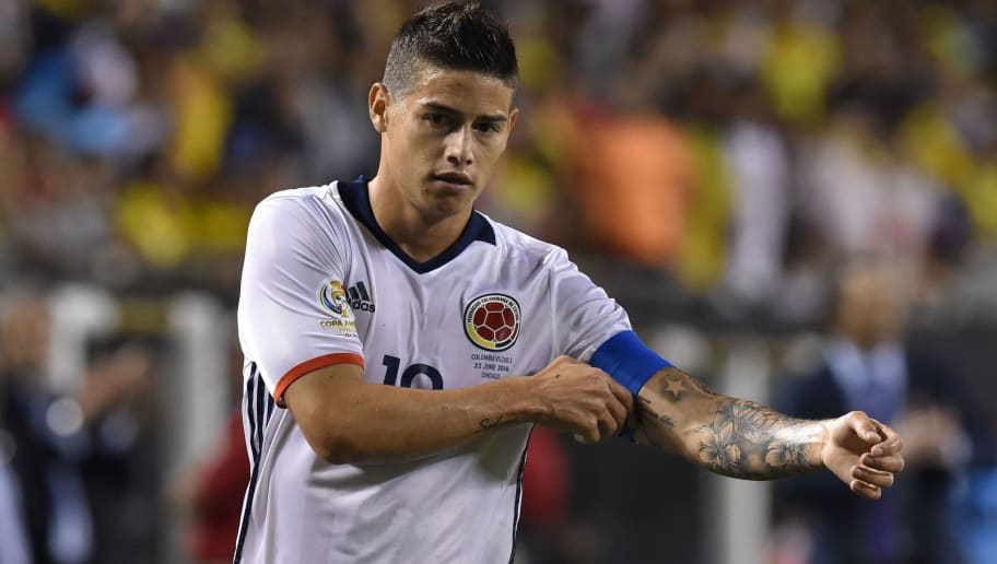 Colombia's James Rodriguez gestures during the Copa America Centenario semifinal football match in Chicago, Illinois, United States, on June 22, 2016.  / AFP / Nicholas Kamm        (Photo credit should read NICHOLAS KAMM/AFP/Getty Images)