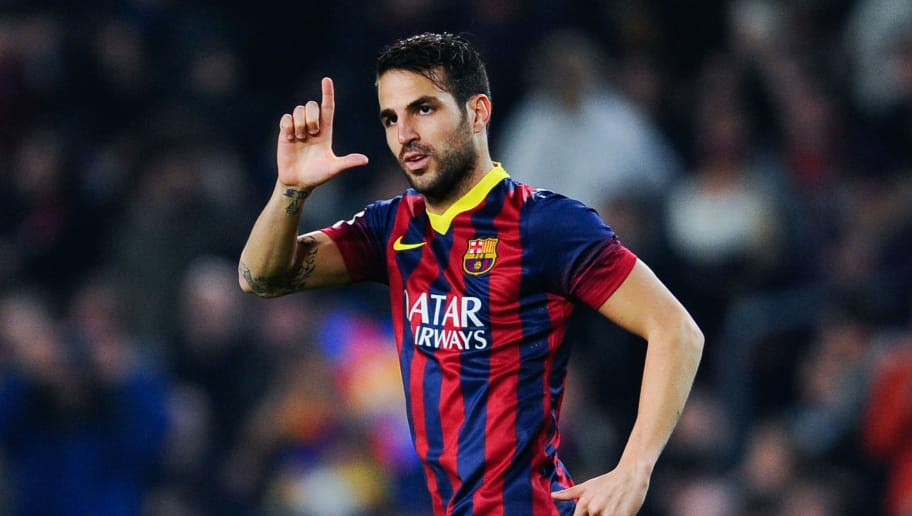 BARCELONA, SPAIN - JANUARY 08:  Cesc Fabregas of FC Barcelona celebrates after scoring the opening goal during the Copa del Rey round of 16 first leg match between FC Barcelona and Getafe CF at Camp Nou on January 8, 2014 in Barcelona, Spain.  (Photo by David Ramos/Getty Images)