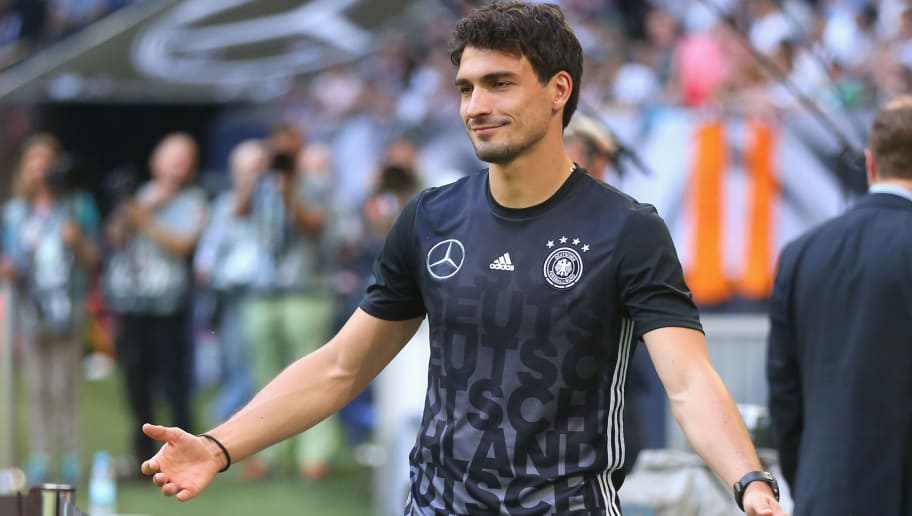 GELSENKIRCHEN, GERMANY - JUNE 04:  Mats Hummels of Germany reacts  prior to the international friendly match between Germany and Hungary at Veltins-Arena on June 4, 2016 in Gelsenkirchen, Germany.  (Photo by Alexander Hassenstein/Bongarts/Getty Images)