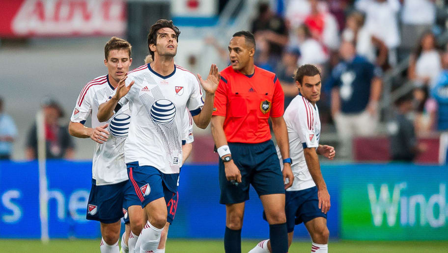 COMMERCE CITY, CO - JULY 29: Kaka #22 of MLS All-Stars celebrates after scoring a first half goal against the Tottenham Hotspur during the 2015 AT&T Major League Soccer All-Star game at Dick's Sporting Goods Park on July 29, 2015 in Commerce City, Colorado. (Photo by Dustin Bradford/Getty Images)