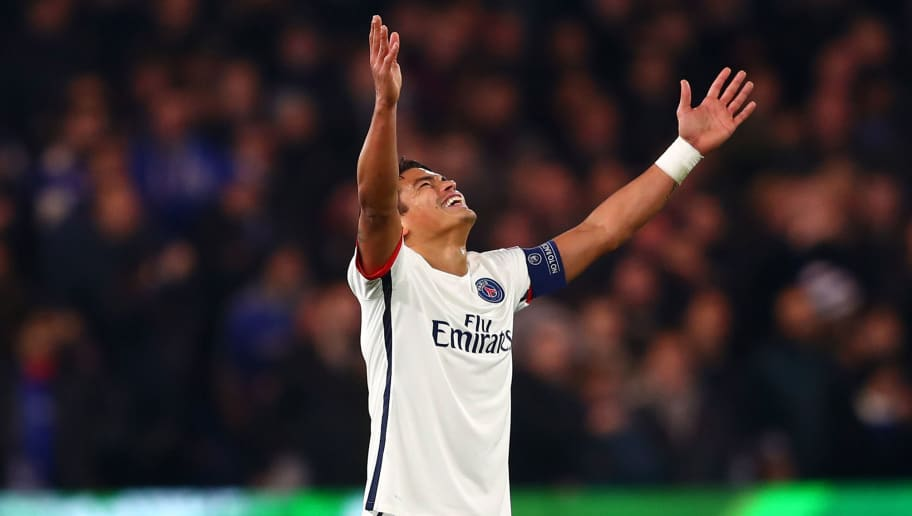LONDON, ENGLAND - MARCH 09:  Thiago Silva of PSG celebrates after teammate Zlatan Ibrahimovic of PSG scores their second goal during the UEFA Champions League round of 16, second leg match between Chelsea and Paris Saint Germain at Stamford Bridge on March 9, 2016 in London, United Kingdom.  (Photo by Clive Rose/Getty Images)