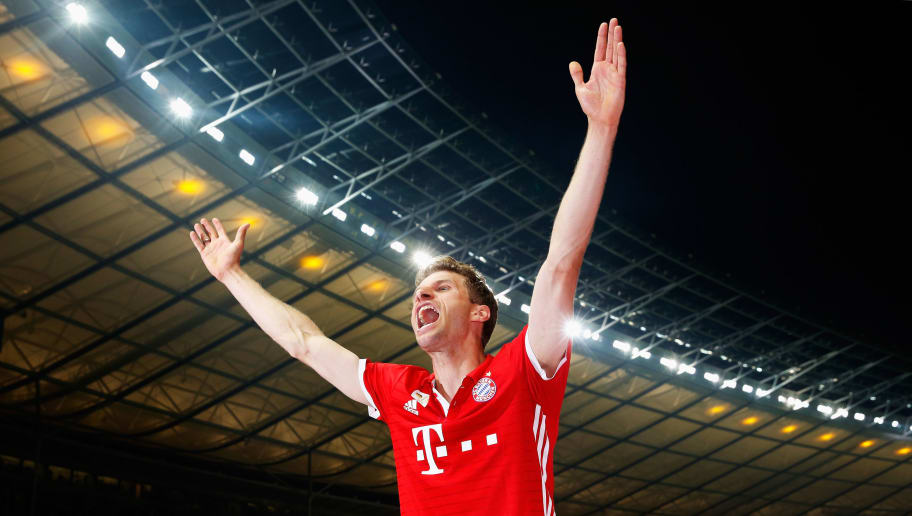 BERLIN, GERMANY - MAY 21: Thomas Mueller of Bayern Muenchen celebrates victory after the DFB Cup final match between FC Bayern Muenchen and Borussia Dortmund at Olympiastadion on May 21, 2016 in Berlin, Germany.  (Photo by Boris Streubel/Bongarts/Getty Images)