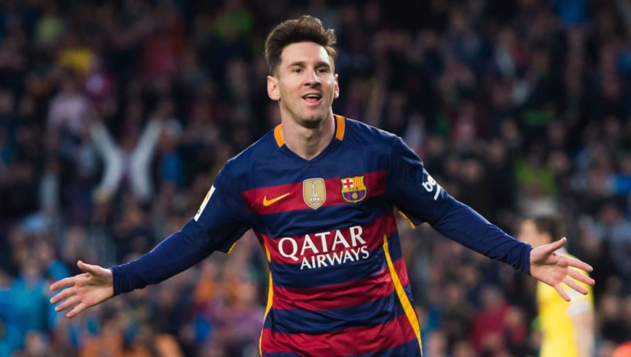 BARCELONA, SPAIN - APRIL 23:  Lionel Messi of FC Barcelona celebrates after scoring the opening goal during the La Liga match between FC Barcelona and Sporting Gijon at Camp Nou on April 23, 2016 in Barcelona, Spain.  (Photo by Alex Caparros/Getty Images)