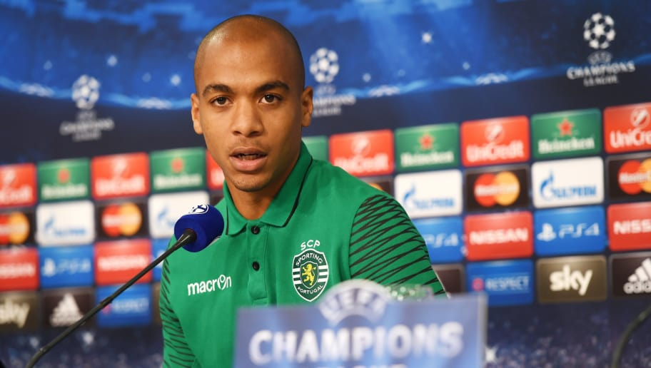 Sporting's midfielder Joao Mario attends a press conference in Gelsenkirchen, western Germany on October 20, 2014, on the eve of the first leg UEFA Champions League Group G football match FC Schalke 04 vs Sporting Clube de Portugal. AFP PHOTO / PATRIK STOLLARZ (Photo credit should read PATRIK STOLLARZ/AFP/Getty Images)