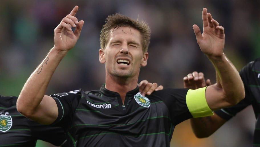 Sporting's midfielder Adrien Silva celebrates a goal during the Portuguese league football match Rio Ave FC vs Sporting CP at Arcos stadium in Vila do Conde on September 13, 2015. AFP PHOTO/ MIGUEL RIOPA (Photo credit should read MIGUEL RIOPA/AFP/Getty Images)