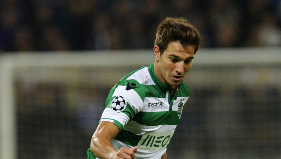 MARIBOR,SLOVENIA - SEPTEMBER 17: Cedric Soares of Sporting Clube de Portugal in action during the UEFA Group G Champions League football match between NK Maribor and Sporting Lisbon at the Ljudski vrt Stadium on September 17, 2014 in Maribor, Slovenia. (Photo by Samuel Kubani/EuroFootball/Getty Images)
