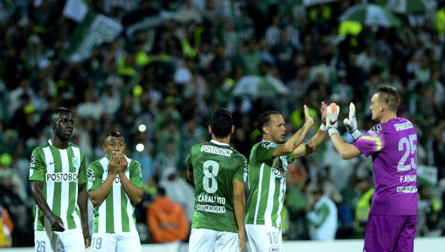 Colombia's Atletico Nacional players celebrate after defeating Brazil's Sao Paulo in their 2016 Copa Libertadores semifinal football match at Atanasio Girardot stadium, in Medellin, Antioquia department, Colombia, on July 13, 2016. / AFP / RAUL ARBOLEDA        (Photo credit should read RAUL ARBOLEDA/AFP/Getty Images)