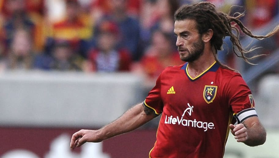 SANDY, UT - MARCH 12: Kyle Beckerman #5 of Real Salt Lake dribbles the ball against Seattle Sounders FC at Rio Tinto Stadium on March 12, 2016 in Sandy, Utah. (Photo by Gene Sweeney Jr/Getty Images)
