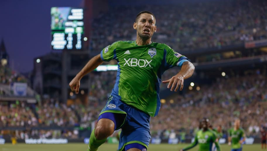 SEATTLE, WA - JULY 13:  Clint Dempsey #2 of the Seattle Sounders reacts after scoring a goal in the second half against the Portland Timbers at CenturyLink Field on July 13, 2014 in Seattle, Washington.  (Photo by Otto Greule Jr/Getty Images)