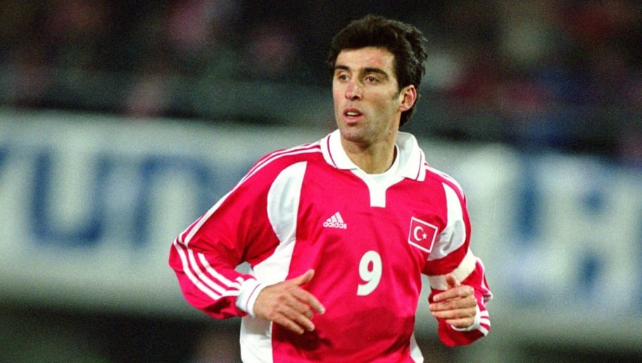 10 Nov 2001:  Hakan Sukur of Turkey in action during the 2002 World Cup Play-off match between Austria and Turkey played at the Ernst Happel Stadium in Vienna, Austria. Turkey won the match 1 - 0. \ Mandatory Credit: Mark Thompson /Allsport
