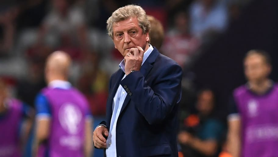 England's coach Roy Hodgson reacts during Euro 2016 round of 16 football match between England and Iceland at the Allianz Riviera stadium in Nice on June 27, 2016.   / AFP / PAUL ELLIS        (Photo credit should read PAUL ELLIS/AFP/Getty Images)