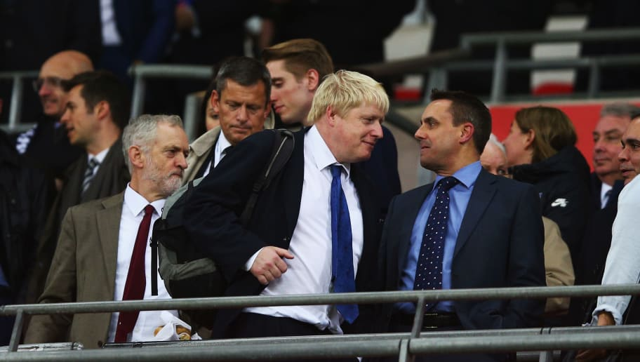 LONDON, ENGLAND - NOVEMBER 17:  Labour Party leader Jeremy Corbyn and London Mayor Boris Johnson are seen on the stand prior to the International Friendly match between England and France at Wembley Stadium on November 17, 2015 in London, England.  (Photo by Paul Gilham/Getty Images)