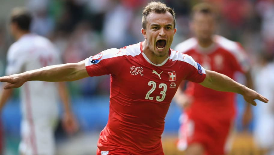SAINT-ETIENNE, FRANCE - JUNE 25: Xherdan Shaqiri of Switzerland celebrates his goal during the UEFA Euro 2016 Round of 16 match between Switzerland and Poland at Stade Geoffroy-Guichard on June 25, 2016 in Saint-Etienne, France.  (Photo by Laurence Griffiths/Getty Images)