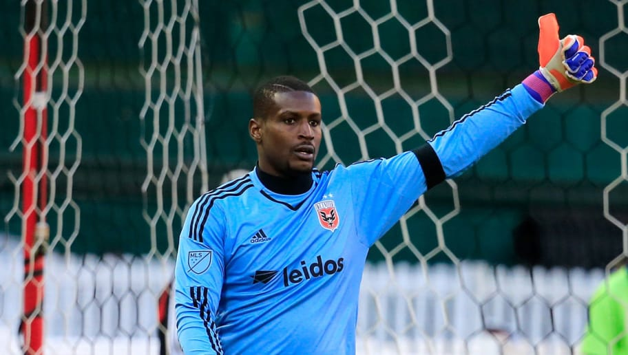 WASHINGTON, DC - MARCH 07: Goalie Bill Hamid #28 of D.C. United celebrates after making a second half stop against the Montreal Impact during their 1-0 win at RFK Stadium on March 7, 2015 in Washington, DC.  (Photo by Rob Carr/Getty Images)