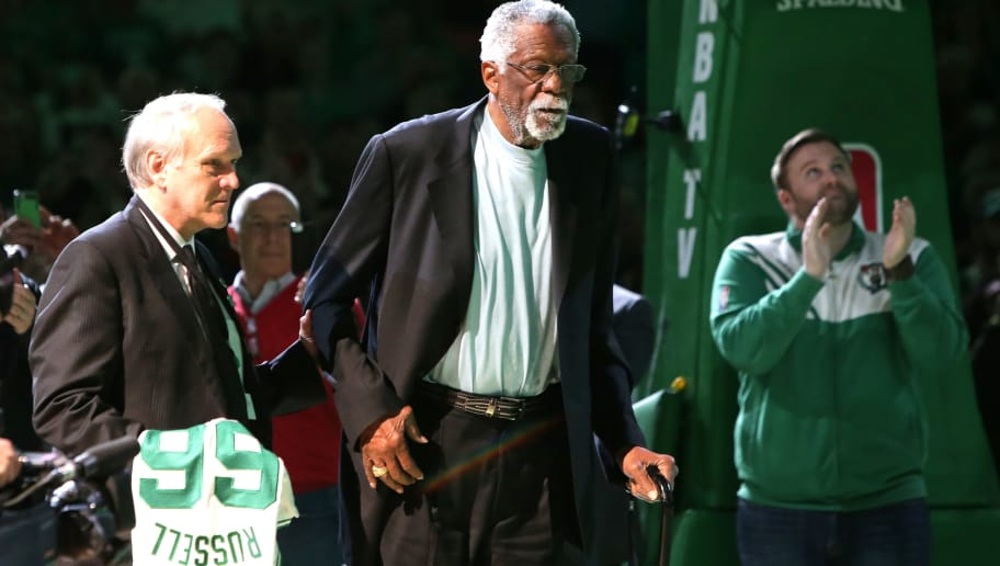 BOSTON, MA - APRIL 13:  Member of the Boston Celtics 1966 Championship team Bill Russell is honored at halftime of the game between the Boston Celtics and the Miami Heat at TD Garden on April 13, 2016 in Boston, Massachusetts. NOTE TO USER: User expressly acknowledges and agrees that, by downloading and/or using this photograph, user is consenting to the terms and conditions of the Getty Images License Agreement.  (Photo by Mike Lawrie/Getty Images)