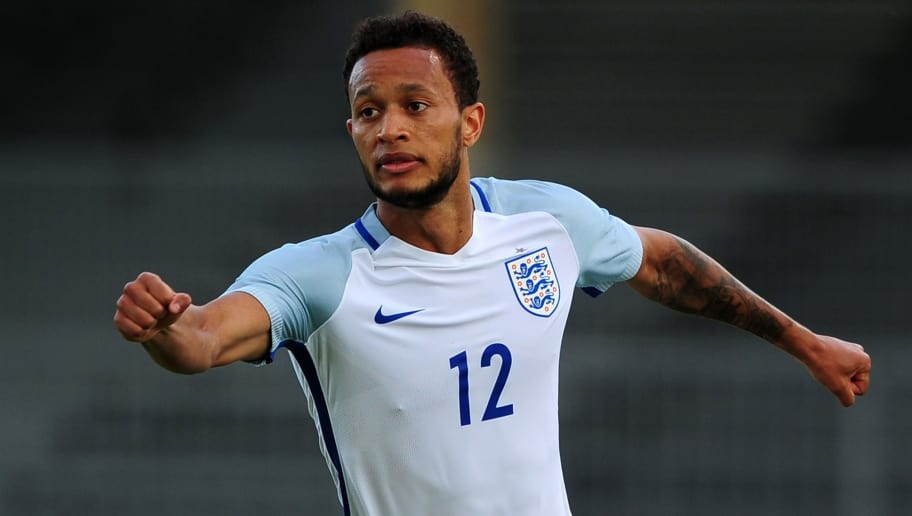 AVIGNON, FRANCE - MAY 29: Lewis Baker of England celebrates after scoring his sides first goal during the Final of the Toulon Tournament between England and France at Parc Des Sports on May 29, 2016 in Avignon, France. (Photo by Harry Trump/Getty Images)