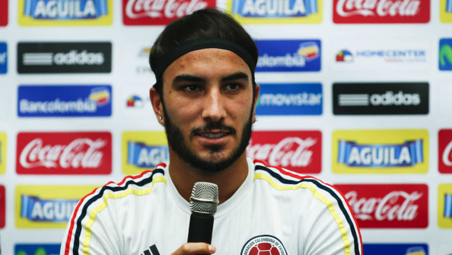 Colombia's player Sebastian Perez attends a press conference in Hoboken, New Jersey, on June 15, 2016.  Colombia will face Peru on June 17 in their Quarter-finals match of the Copa America. / AFP / EDUARDO MUNOZ ALVAREZ        (Photo credit should read EDUARDO MUNOZ ALVAREZ/AFP/Getty Images)