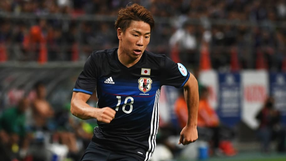 TOYOTA, JAPAN - JUNE 03:  Takuma Asano of Japan in action during the international friendly match between Japan and Bulgaria at the Toyota Stadium on June 3, 2016 in Toyota, Aichi, Japan.  (Photo by Kaz Photography/Getty Images)